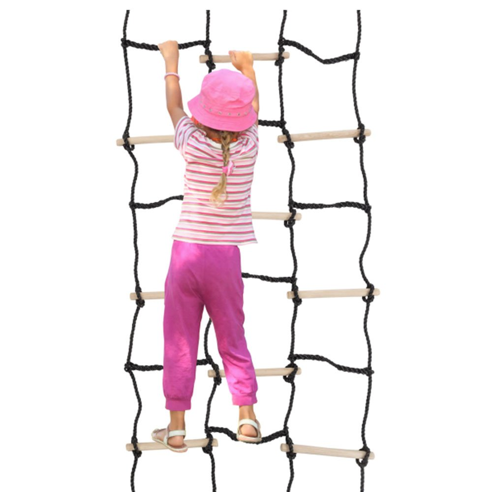 "90"" x 35"" Climbing Cargo Net For Kids Outdoor Play Ideal Outdoor Activities For Kids For Balance, Coordination And Strength Made With Real Wood and Nylon Rope Sturdy Construction Great for Ninja Obst"