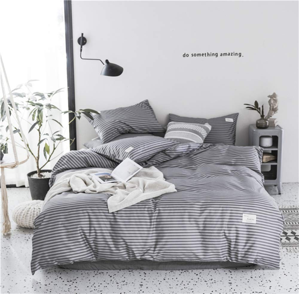 CSYP 2019春と夏の綿4ピース綿のシンプルな寝具シーツ掛け布団カバー (Color : Brown) B07Q6B423G