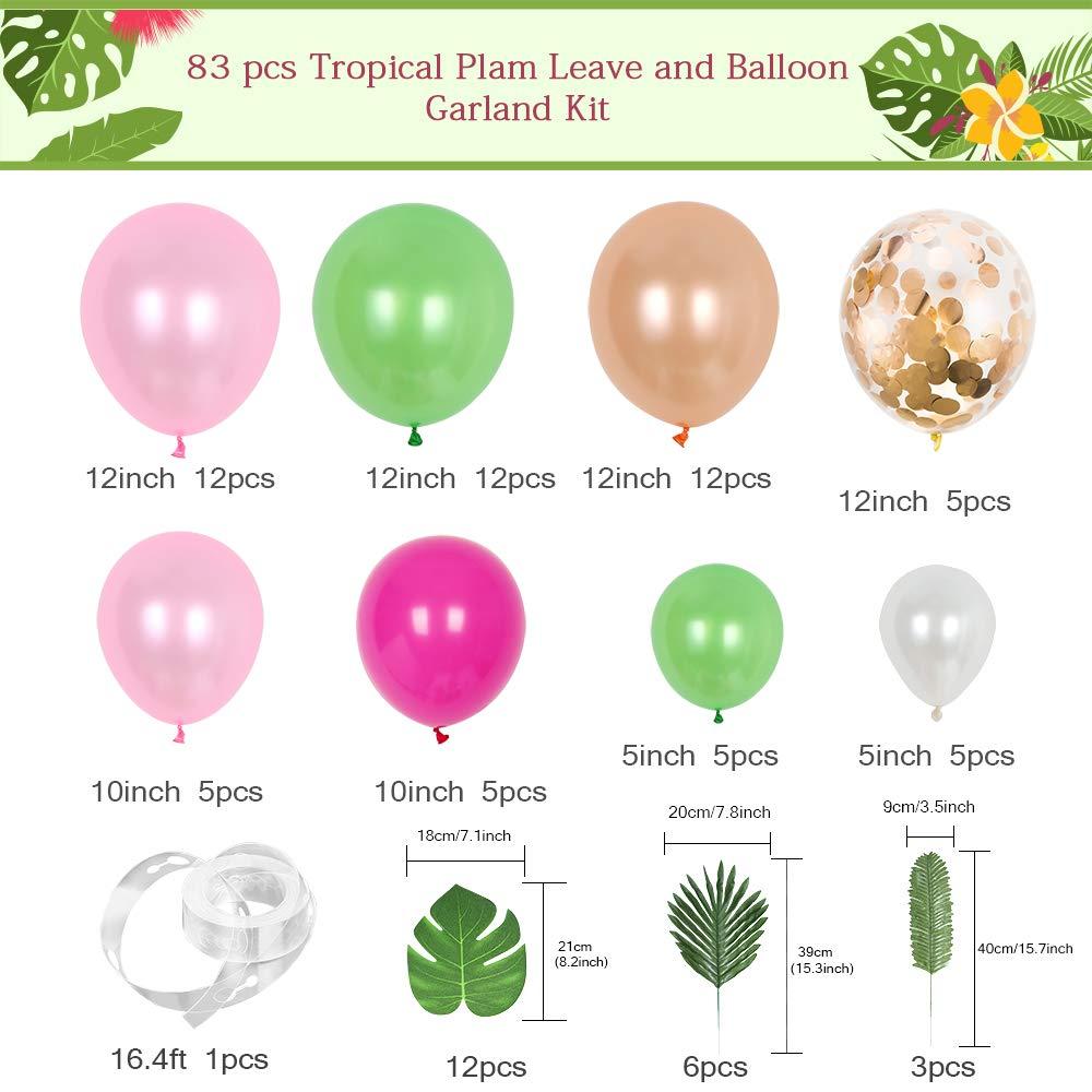 "10//12Pcs 12/"" Flamingo Leaf Printed Confetti Latex Balloon Set Wedding Party UK"