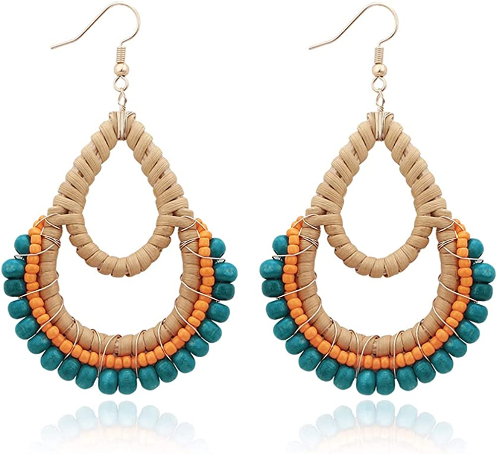 Amazon.com: Bohemian Rattan Blue Wooden Beads Fish Hook Teardrop Earrings  Dangle Drop Jewelry for Women Girls: Clothing