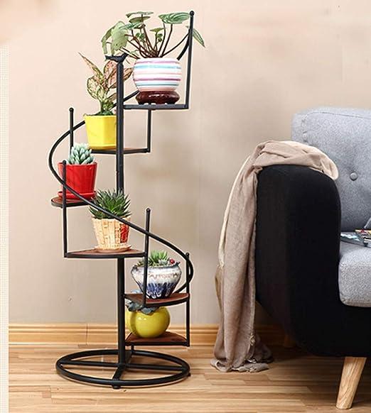 UOUM estantería de Flores, Hierro Forjado y Madera Maciza Volviendo multinivel Escalera de Caracol, el Marco Floral,B: Amazon.es: Hogar