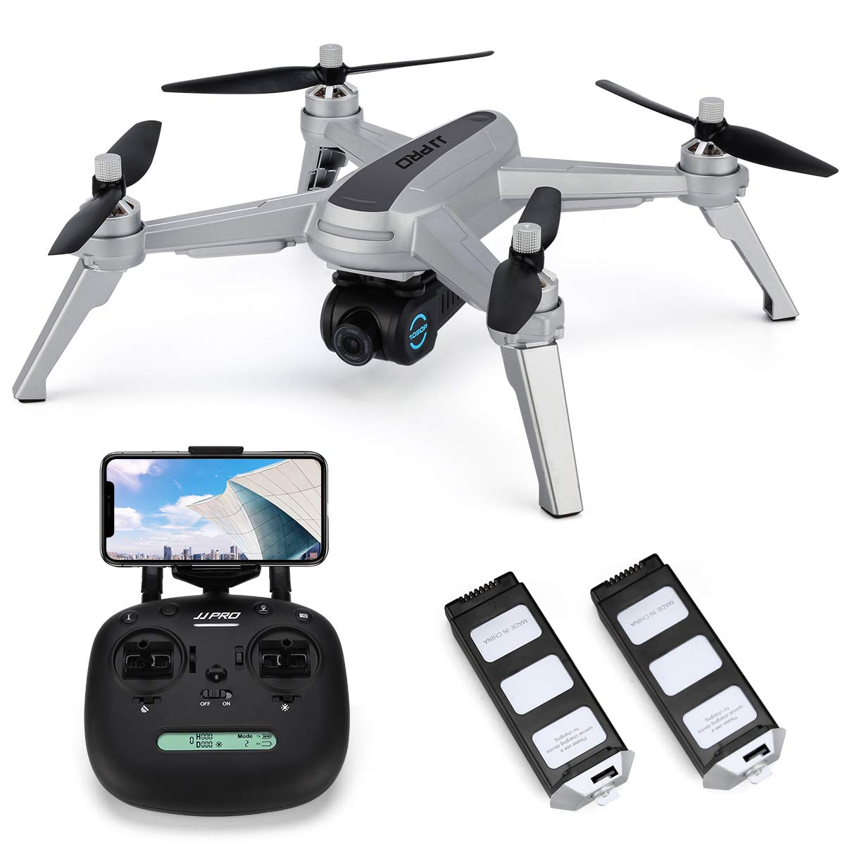 JJRC X5 FPV Drone with 1080P HD Camera Live Video, GPS Return Home Quadcopter with Brushless Motor & 90°Adjustable Camera,Drone for Adults,Follow Me, Flight Surround Me, Long Control Range (Gray)