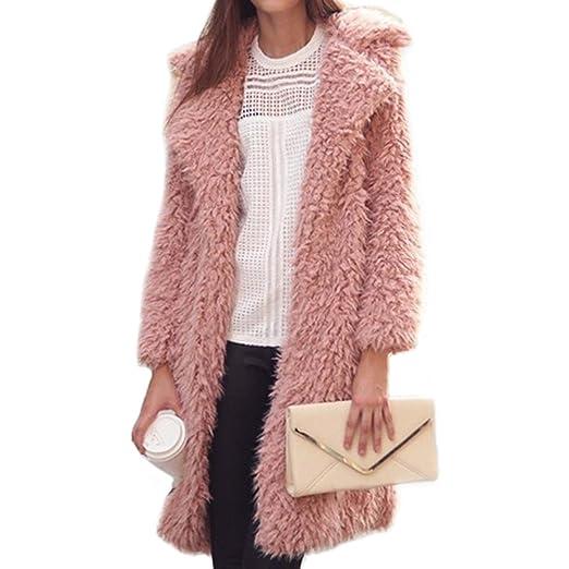 9c8d288c77ab M_Eshop Women's Casual Shaggy Long Faux Fur Coat Jacket Outwear (Pink, ...
