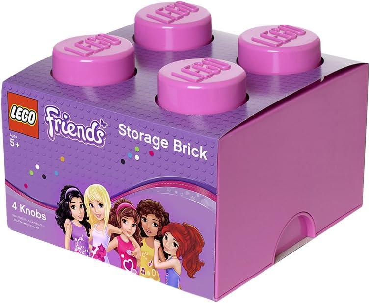 LEGO Ladrillo de Almacenamiento de 4 espigas Friends, Caja de almacenaje apilable, 5,7 l, Rosa, Tilo, One Size: Amazon.es: Juguetes y juegos