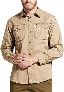 Hombre Camisas Manga Larga Militar Estilo Color Sólido Camiseta De Acampada Y Senderismo: Amazon.es: Deportes y aire libre