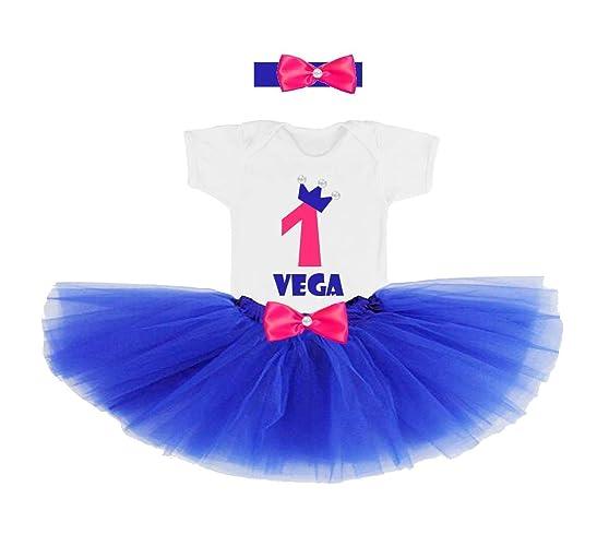0959bb90572 Conjunto primer cumpleaños 1 año personalizado nombre niña Azul y  rosa Incluye  Body