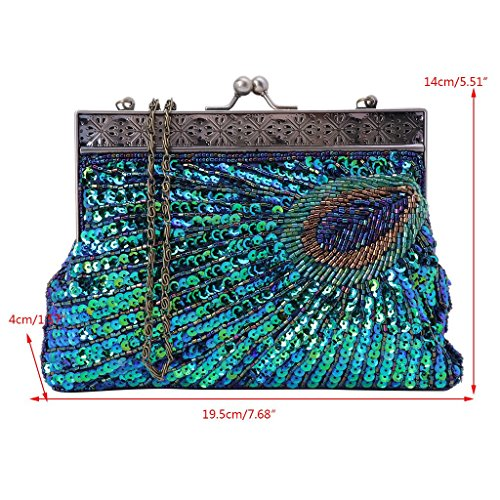 Shoresu Blue Bag Women Blue Clutch Sequin Beaded Style Party Evening Prom Handbag Peacock Wedding r7rxSwtdq