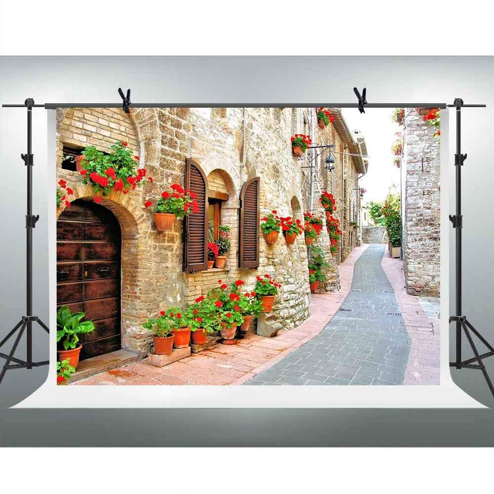 FHZON  Travel Photography Backdrop 7x5ft Famous European Street Buildings Wedding Photo Background Spring Flowers Stone Path Girls Studio Photo Potrait Background FH1348