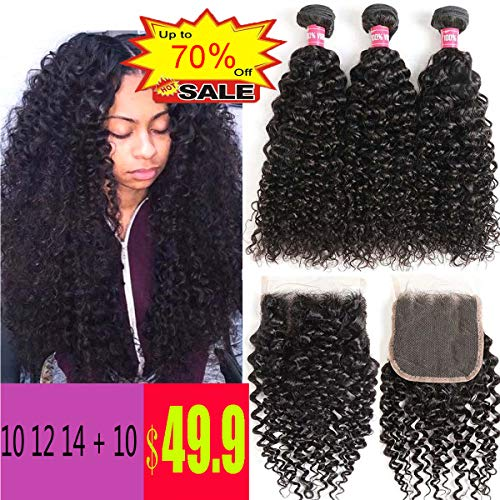 WENYU Brazilian Virgin Kinkly Curly Hair 3 Bundles with Lace Closure Brazilian Kinky Curly Human Hair Extensions Curly Weave Bundles with 4 x 4 Lace Closure Natural Black Color(10 12 14+10Free Part) (Best Hair Products For Curly Weave)