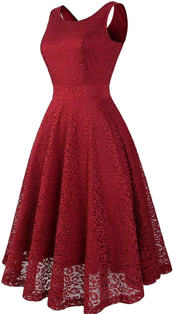 LQJstore Womens Vintage Lace Solid Sleeveless Spring Vintage Country Rock Cocktail Evening Party Dress