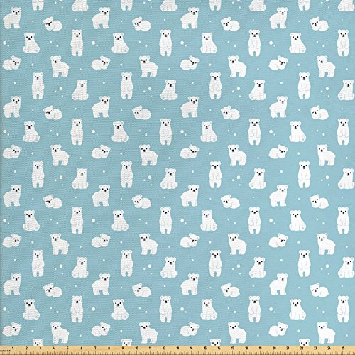 Ambesonne Baby Fabric by the Yard, Cute Cartoon Polar Bears Sitting Sleeping Moving with Snow Effect Animal Pattern, Decorative Fabric for Upholstery and Home Accents, Pale Blue White