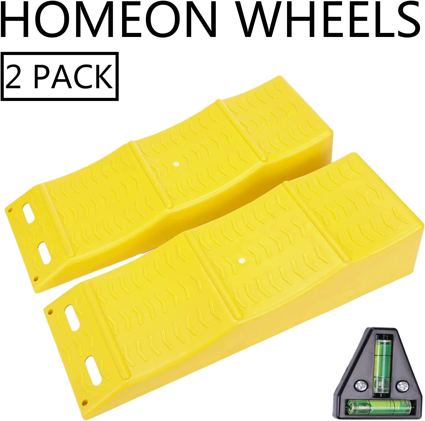 Homeon Wheels RV Leveling Blocks, Heavy Duty 3 Curved Camper Leveler Ramps 2 Pack Tire Chocks for Motorhome Caravan Truck SUV Each Wheel 5,000 lb Adds Up to 3.94in Total 6 in Height RV T Level