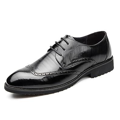 GRRONG Chaussures Pour Hommes Sculpté Business Suits Hommes Cuir Angleterre Chaussures D'hiver,Brown-37