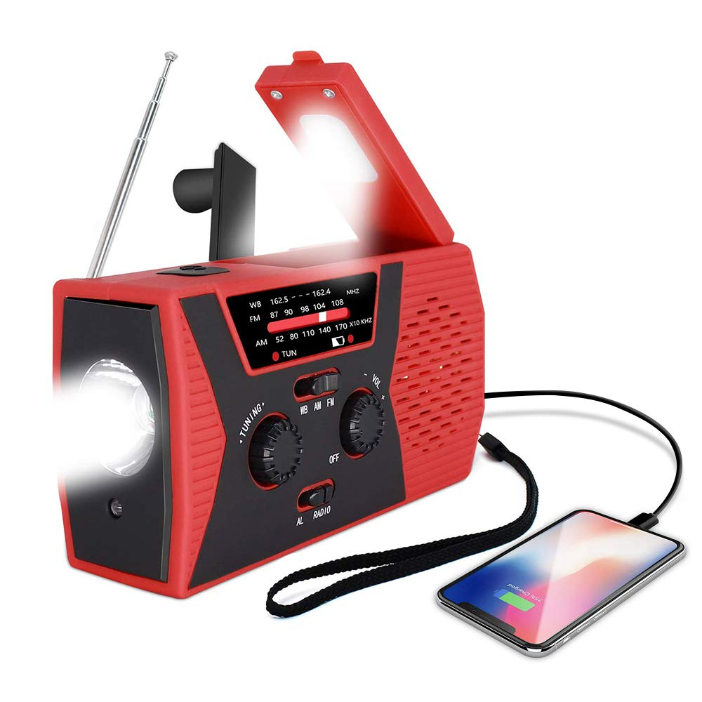 [2019 Upgraded Version] Emergency Solar Hand Crank Radio, Portable AM/FM NOAA Weather Radio for Outdoor and Household Emergency Device, LED Flashlight, Reading Lamp, 2000mAh Power Bank USB Charger by romatpretty