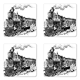Ambesonne Steam Engine Coaster Set of Four, Rustic Old Train in Country Locomotive Wooden Wagons Rail Road with Smoke, Square Hardboard Gloss Coasters for Drinks, Black and White