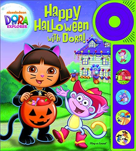 Happy Halloween with Dora Explorer Play A Sound Book & Buttons Doorbell NEW -