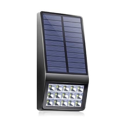 Mlec tech Focos Solares Exterior Luz Solar Jardín 15 LEDs con 500 LM Lámpara de Pared