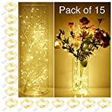 SmilingTown Starry String Lights 15 Pack Fairy Lights, LED Firefly Silver Color Wire Lights 20 LED 7.2FT Battery Powered Lights for DIY Wedding Party Jar Centerpiece Christmas Decorations (Warm White)