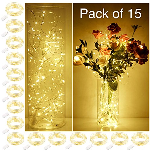 Smilingtown Starry String Lights 15 Pack Fairy Lights, LED Firefly Silver Color Wire Lights 20 LED 7.2FT Battery Powered Lights for DIY Wedding Party Jar Centerpiece Christmas Decorations (Warm White) -