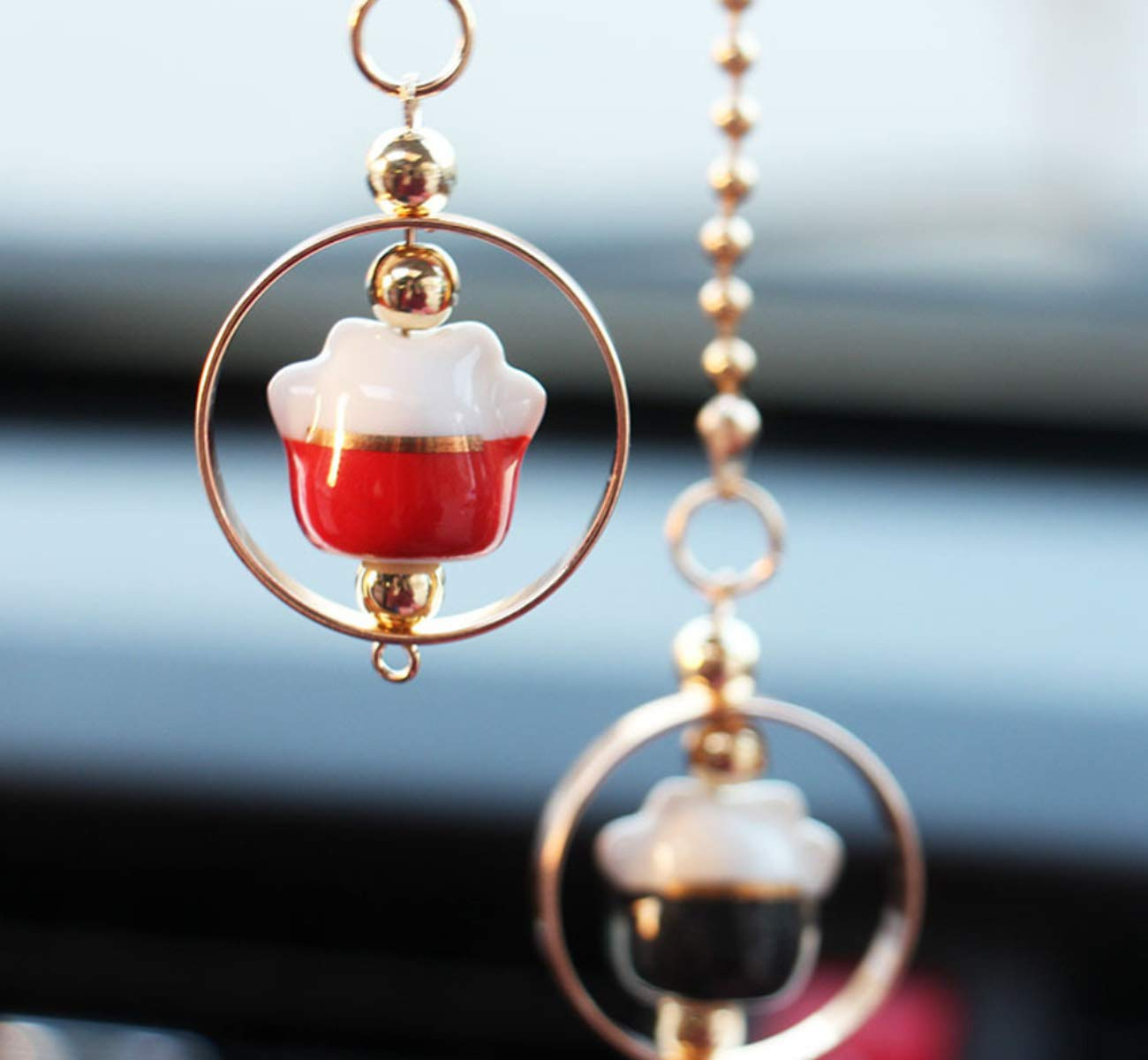 Black /& Red Halloluck Lucky Cat Car Charm Chinese Ceramic Cat Figurine Hanging Pendant Car Interior Ornament