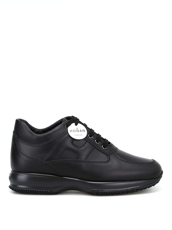 - Hogan Men's HXM00N00010KLAB999 Black Leather Sneakers