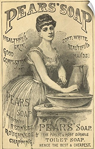 Canvas on Demand Vintage Apple Collection Wall Peel Wall Art Print entitled Pears Soap Washbowl - Vintage Advertisement 22