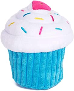 ZippyPaws - Cupcake Stuffed Plush Dog Toy with Two Squeakers
