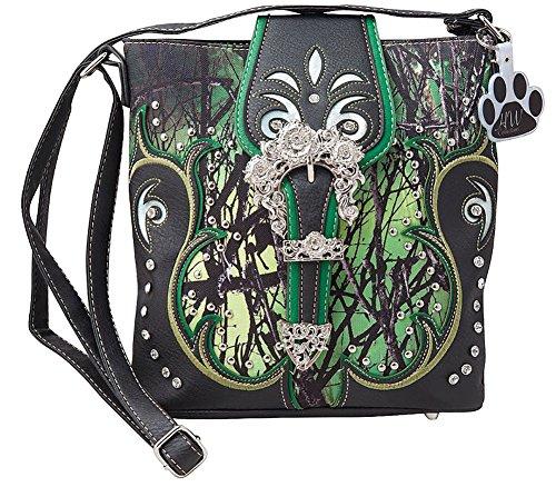Green Camo HW Crossbody Handbag Western Carry Buckle Camouflage Purse Collection Rhinestone Concealed qf1wPpEf