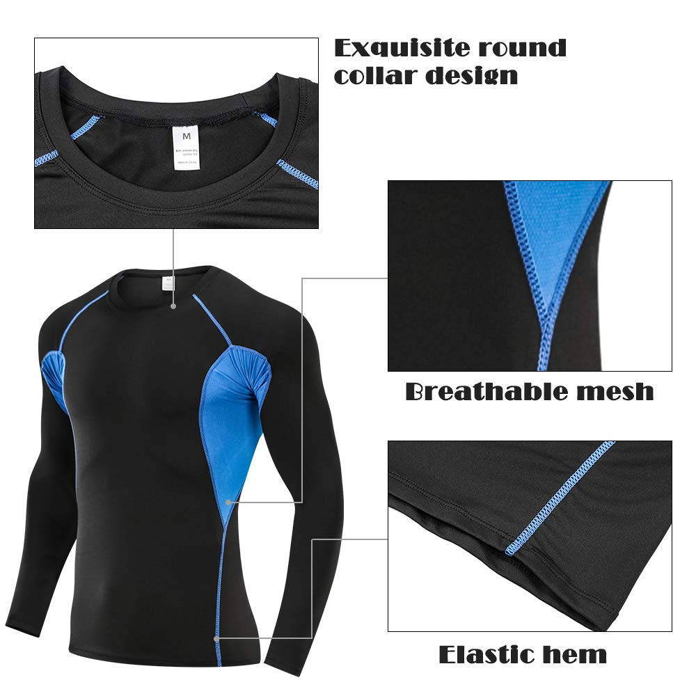 SKYSPER Herren Kompressionsshirt Kompressionshose getrennt Sport Kompressionsunterw/äsche Funktionsunterw/äsche Funktionsshirts
