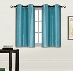 "Elegant Home 2 Panels Tiers Grommets Small Window Treatment Curtain Faux Silk Semi Sheer Drape Short Panel 28"" W X 36"" L Each for Kitchen Bathroom or Any Small Window # N25 (Teal Blue)"