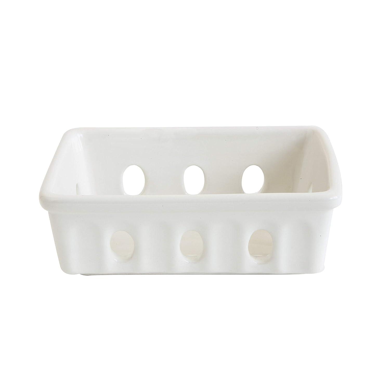 Creative Co-Op DA8447 White Stoneware Berry Bowl or Soap Dish