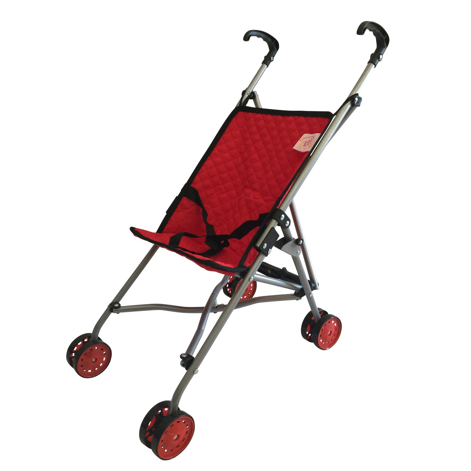 My First Doll Stroller for Kids - Super Cute Doll Stroller for Girls - SUPERIOR QUALITY Red Quilted Fabric- NEW LUXURY COLLECTION - Doll Stroller Folds for Storage - Great Gift for Toddlers by The New York Doll Collection   B01KVUP4J0