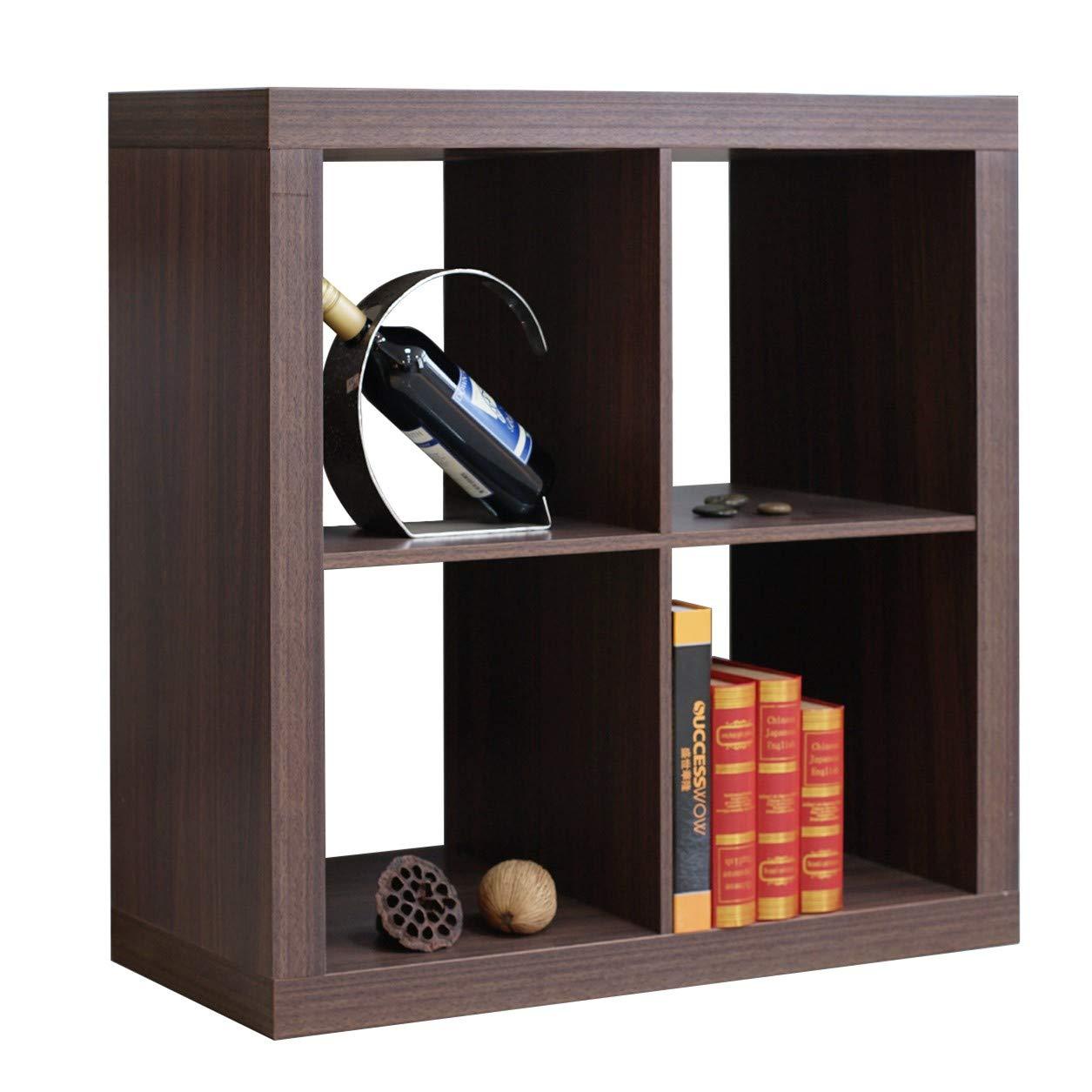 DlandHome Storage Cube Organizer, 4-Cube (2X2) Home & Garden & Office Storage Bookcases Wooden, LHGZ303-B Dark Brown, 1 Pack