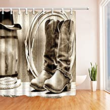 Western Decor Shower Curtain Traditional Rodeo Supplies with Roper Boots in Vintage Colors Nostalgic Wild PhotoWaterproof Fabric Home Decor Shower Curtains Bath Curtains (Multi 16)