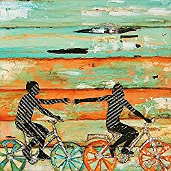 The Chase - Bicycling couple holding hands - Danny Phillips art print, UNFRAMED, Cycling Bike art wall & home decor poster, Wedding - Engagement - Anniversary - Valentines Day gift for her, All Sizes