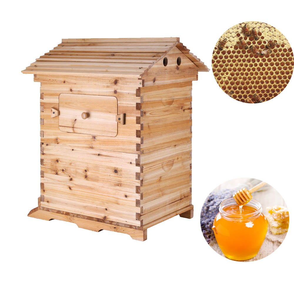 Beehive Wooden House Bee Box - Bee Hive House for Beekeeping 20x16x10 Inch Seeutek
