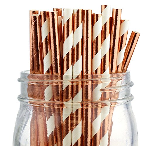 Just Artifacts Decorative Party Paper Straws 100pcs Assorted Color & Pattern- Metallic Rose Gold