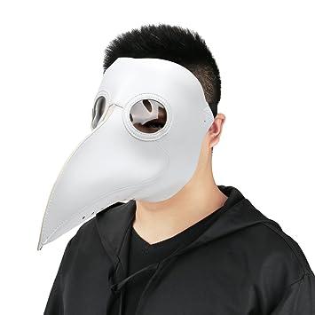 Cusfull Máscara de pico Falsa Piel Plaga Doctor Máscara Disfraz de Halloween Cosplay Steampunk Costume para
