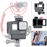 ULANZI V2 Vlogging Protective Housing Case Shell - Frame Cage with Cold Shoe Mount for Microphone, Compatible with GoPro Hero 5 6 7,Action Camera Accessories