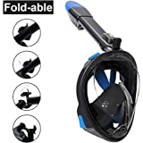 Aidong 180° Full Face Snorkel Mask with Panoramic View Anti-Fog Design, Foldable Storage Snorkel Set With GoPro Mount, Swimming Set for Men Women Adults Kids, See More With Larger Viewing Area