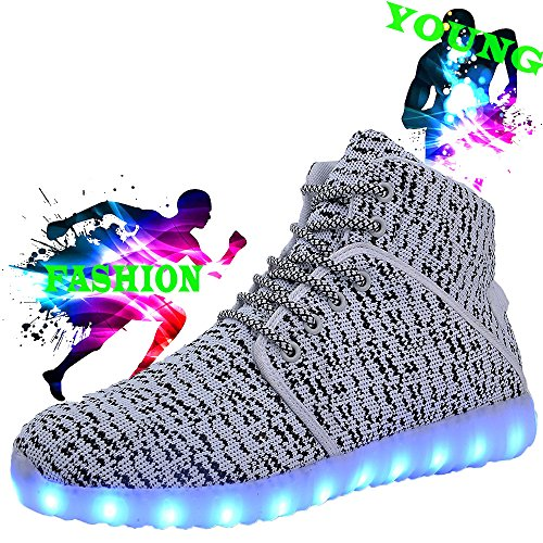 Led High DEMANGO Womens for Flashing Top Sneakers White Up Mens Rechargeable Light Shoes dqw14F0