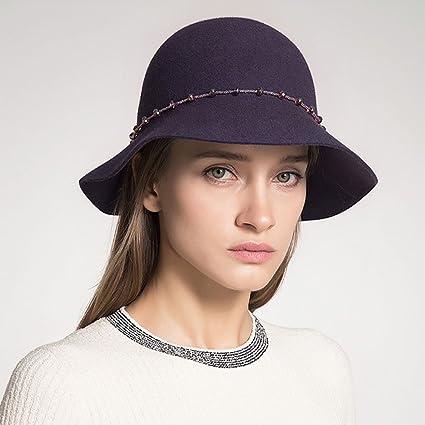 Sombreros de bombín para mujeres Señoras Clásico Sombrero de campana elegante  Sombrero de fieltro Sombrero de fc078701aaf
