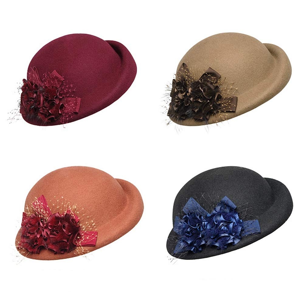 Aihifly Vintage Flower Wool Felt Cloche Fedora Hat For Ladies Church Bowler  Hats Derby Party Fashion Winter Women Casual Soft Classic Cap 1920s 1950s  (Color ... 4354c1a14ec7