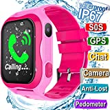 Kids Smart Watch IP67 Waterproof WiFi GPS Tracker with SIM Card Slot SOS Camera for Boys Girls Back to school Smartwatch Phone watch Game watch Electronic Learning Toys Birthday Gift (Pink)