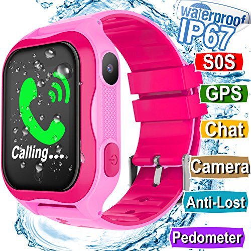 Kids Smart Watch IP67 Waterproof WiFi GPS Tracker with SIM Card Slot SOS Camera for Boys Girls Back to school Smartwatch Phone watch Game watch Electronic Learning Toys Birthday Gift (Pink) by MarMoon
