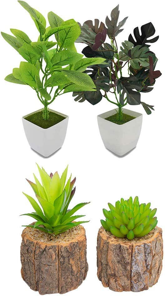 Artificial Succulents Plants in Pots for Home Decor Indoor, Mini Fake Succulents Plants, Faux Greenery Cactus Cacti Plants for Home, Office Shelf Decorations(2Pack Artificial Plants+2Pack Faux Succule