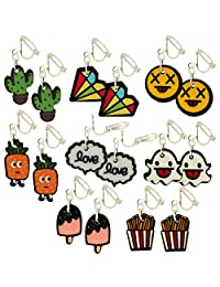 Cartoon Art Clip on Dangle Drop Earrings, Count of 8 Pairs, for Teen Girls Kids
