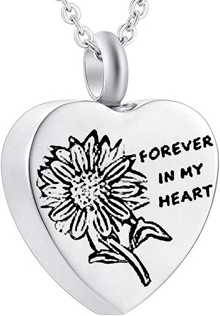 Memorial Ash Stainless Steel Sterling Silver Daisy Flower Cremation Urn NecklaceCremation PendantCremation NecklaceSmall Funnel
