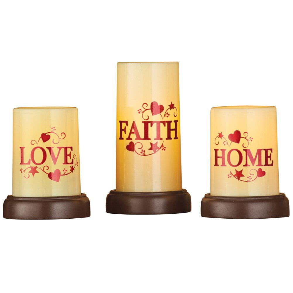 Collections Etc Primitive Country Home Décor Flameless Pillar Candles with Flickering Flames and Pedestal Bases, Reads Love Faith Home - Set of 3