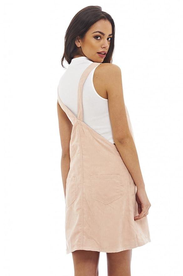 84221a6a87c AX Paris Women s Faux Suede Dungaree Dress at Amazon Women s Clothing store